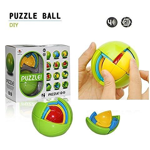 3D Puzzle Ball , Morbuy Intelligence Ball Maze Game 3D Wisdom Ball DIY Educational Magic ball Game Toy(Random