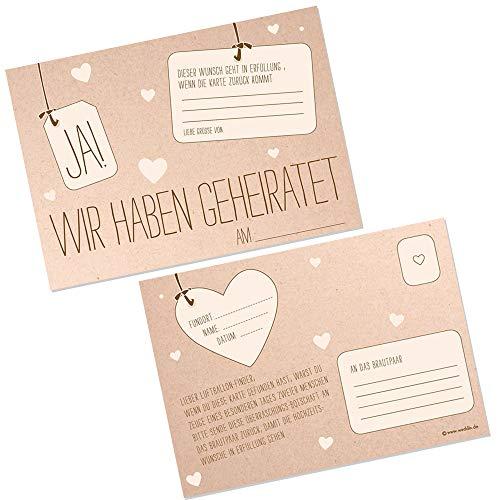 Ballonkarten JA! in Kraftpapier Optik, 50 Stück im Set - Ballonflugkarten mit der Aufschrift Ja! Wir haben geheiratet für den Ballonstart zur Hochzeit