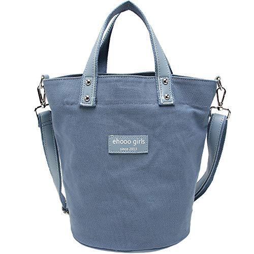 Bedolio tragbare Eimer Tasche Damen lässig Canvas Tasche Mode Schulter Diagonale Canvas Tasche, blau