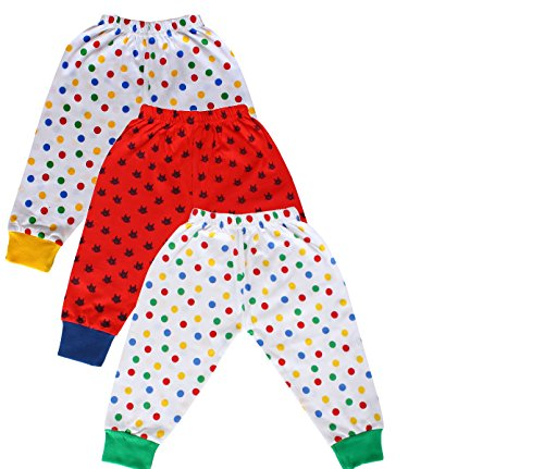 Tiddlee Baby Kids Clothes - for Girls and Boys - Children Combo set - Pack of 3 Printed Multicolour Pajama Pants / Legging / Pajami / Lower / Trouser / Pyjama with colored Rib - Soft & 100% hosiery cotton - Multi-color - Child Skin friendly, Durable & High Quality Coloured Clothing Apparel - (3-6 months)  available at amazon for Rs.249