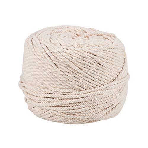 PandaHall Elite - 100m Baumwollgarn Mehrere Baumwollseile für die Schmuckherstellung und Dekoration, Navajo Weiß, 3mm - 3 Baumwollgarn Größe