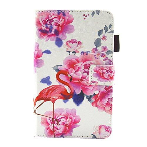 axy Tab A 7.0 Hülle (SM-T280 T285), Ultra Slim Leder Tasche Schutzhülle mit Stifthalter und Standfunktion für Samsung Galaxy Tab A6 7,0 Zoll Tablet, Flamingo mit Blumen ()