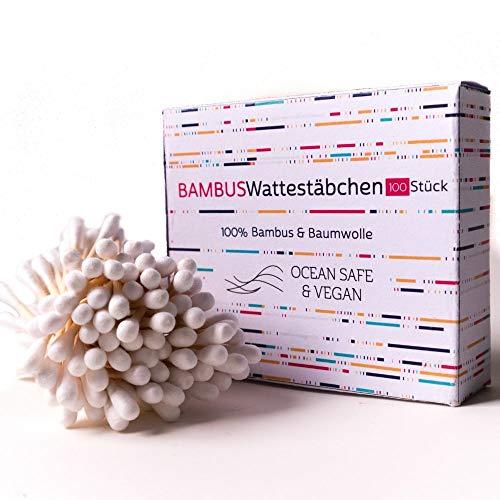 Bambus und Baumwolle Wattestäbchen - Biologisch Abbaubar - 2x100 Stück - Baby - Kinder geeignet, vegan, zero waste, plastikfrei, q-tips