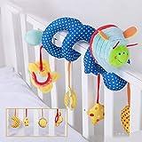 Baby Bed giocattoli, passeggino spirale attività peluche giocattoli, seggiolino auto attività di viaggio giocattoli, presepe multi-funzionale avvolge, peluche letto giocattolo campane intorno blu