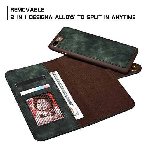 iPhone 7 Hülle, Fraelc iPhone 8 2in1 Abnehmbarer Ledertasche Portmonee Tasche Schutzhülle mit Multi Kartenfach und Magnetschnalle Funktion für iPhone 7 / iPhone 8 (4,7 Zoll) Leder Wallet Flip Detachab Dunkelgrün