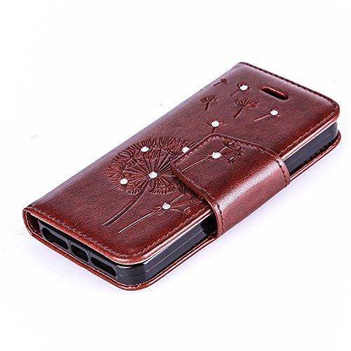 iPhone SE Hülle,iPhone 5S Ledertasche,iPhone 5 Case - Felfy Wallet Hülle Ledertasche Luxe Premium Dünne handgemachte PU-Leder-Mappen-Schlag-Folio Kreditkartensteckplätze Tasche Spleißelement Farbe Des Strass Braun