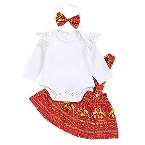 Chennie 3pcs Babyweihnachtsausstattungen langärmliger Spielanzug + Hosenträgerrock + Stirnband