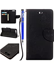 FESELE Coque pour Huawei P10 Cuir Portefeuille, PU Wallet Flip en cuir [Béquille Feature] Housse, motif fleur papillon en cuir PU Support Fonction Cases Housses de protection avec support de fente pour carte Wallet Design Book détachable Dragonne pour Huawei P10 + 1 x Stylus Bleu pen- Noir