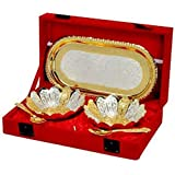 Cameo Brass Silver And Gold Plated Floral Shaped Brass Bowl And Tray Set - B07BGTZF5L