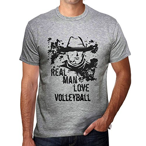 Volleyball, Real Men Love Volleyball Herren T-shirt Grau Geburtstag Geschenk 00540 (Volleyball Love T-shirt)
