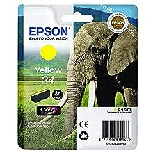 Epson C13T24244012 24 Series Elephant Claria Photo HD Ink Cartridge, Yellow, Genuine, Amazon Dash Replenishment Ready