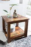 Shabby-Chic Beistelltisch KALKUTTA mit 2 Ablageflächen Dunkelbraun | Design Couchtisch Holz 56 x 60 x 56 cm | Kleiner Tisch Wohnzimmer Bootsholz