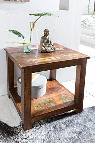 Shabby Chic Table Delhi avec 2 étagères Brun foncé | Design Bois Table Basse 56x60x56cm | Petite Table Salon Bateau en Bois