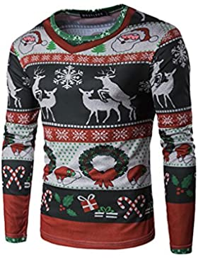 Hombres Camiseta Manga Larga Reno Papá Noel Impresión Navidad Cuello Redondo Blusas