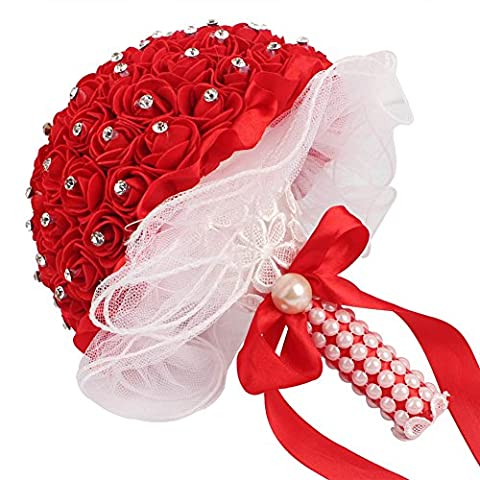 AerWo Bridal Bouquet - Red Wedding Flower Bouquet Handmade Rose Rhinestone Pearl Bridal Bouquet Artificial Silk Flower with Lace - Being the Most Beautiful Bride