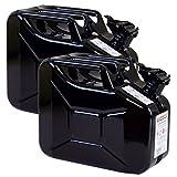 2er Set 10 Liter Benzinkanister Metall GGVS mit Sicherungsstift schwarz Blechkanister