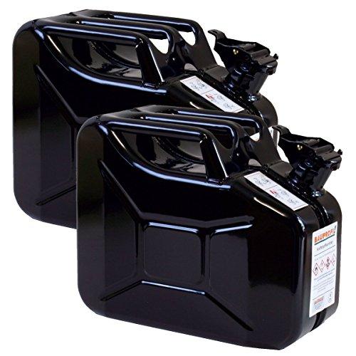 Preisvergleich Produktbild 2er Set 10 Liter Benzinkanister Metall GGVS mit Sicherungsstift schwarz Blechkanister