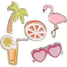 Verres à jus d'orange aux cocotiers T-shirt Écharpe Badge Broche et Pin Set de diamants pour femmes enfants (5PIECE)