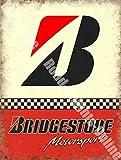 Bridgestone B Sport des motos Pneus Voitures De Course Garage Métal/Panneau Mural Métalique - 15 x 20 cm