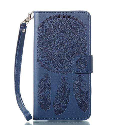 Bedddouuk Galaxy S7 Leder Hülle,Retro Traumfänger Feder Muster Flip Leder Wallet Tasche Handyhülle im Bookstyle mit Standfunktion Kartenfach Schutzhülle für Samsung Galaxy S7,Blau