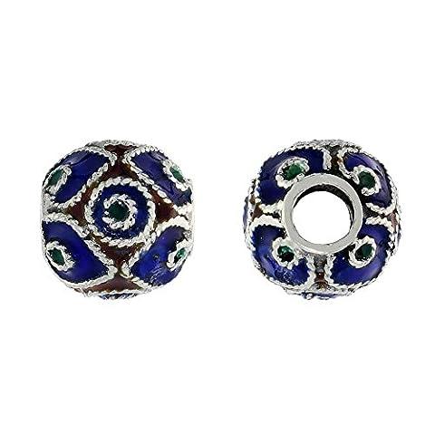 Revoni Sterling Silver Pandora Type Multi Color Diamonds & Circles Barrel Slide Pendant, 7/16