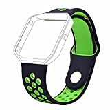 #8: J Small Bracelet Wristband , Soft Silicone Rubber Wrist Band Strap Belt for Fitbit Blaze Sport Watch Black Green (Small 6.2-7.6)