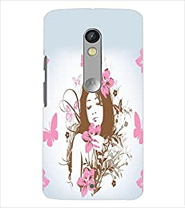 Fuson Butterfly Pattern Girl Back Case Cover for MOTOROLA MOTO X PLAY - D4067