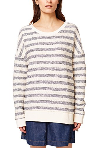 edc by ESPRIT Damen 038CC1J015 Sweatshirt, Weiß (Off White 110), Large