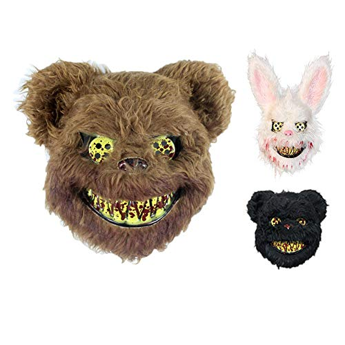 LYMASK Halloween-Maske Bloody Plush Rabbit Maske Halloween Ghost Festival Simulation Tier Bunny Head Kind Erwachsene Cosplay Maske,Brown-Teddy-Bear (Bear Brown Halloween-kostüme)