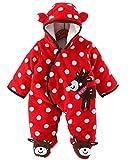 Minetom Herbst Winter Verdickte Overalls Baby Mädchen Jungen Overall Cartoon Coral Fleece Kinderkleidung Warm Einteiler Spieler Rot 59cm