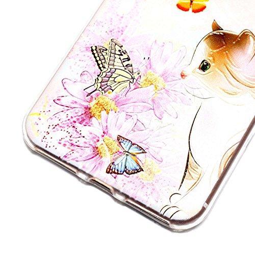 iPhone 7 Plus Hülle, iPhone 7 Plus Hülle Transparent, iPhone 7 Plus Hülle TPU Case Schutzhülle Silikon Case, Cozy Hut ®[Liquid Crystal] 3D Romantik Flower Animal Cartoon Series Transparent Weiche Sili Schmetterlings-Katze