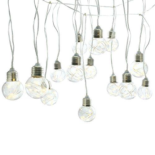 Gadgy ® Lichterkette mit Kufperdraht Glühbirnen | 25 Plastik Kugel Birne mit Warmweiße LED | 8 Beleuchtungs Optionen | 10 Meter Lang mit Netzteil | Innen Garten Zimmer Deco