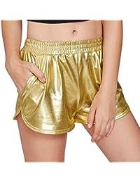 Pailletten Shorts Luckycat Shorts Damen Sommer Locker Hohe Taille  Einfarbige Tasche Leder Shorts Hose Sommerhosen Pants 354632e2d8