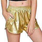 Pailletten Shorts Luckycat Shorts Damen Sommer Locker Hohe Taille Einfarbige Tasche Leder Shorts Hose Sommerhosen Pants Hosen (Gold, X-Large)