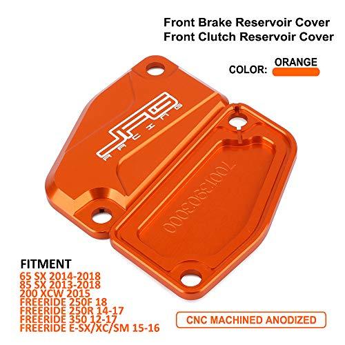 JFG RACING 1 Paar Motorrad CNC Vorderbremse Flüssigkeit Reservoir Deckel Set Für 65/85 SX 13-18,200XCW 15,250R / 250F / 350 Freedride E-SX / XC / SM 12-18