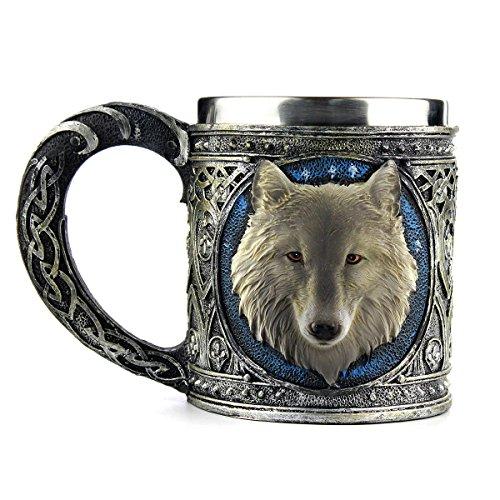 Ezeso Tasse à thé et café Loup en acier inoxydable et résine, chope à vin ou bière de voyage, Acier inoxydable, Mug