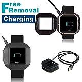 iFeeker Fitbit Blaze Ersatzladekabel, Freies Entfernen USB Ladegerät Adapter Charge Ladekabel Dock Kabel mit Anschlusspins für Fitbit Blaze Intelligent Fitness Uhren (Schwarz)