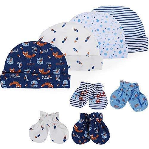 guanti neonato antigraffio Lictin Set Cappellino e Babbucce per Neonato