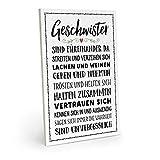 ARTFAVES Holzschild mit Spruch - Geschwister SIND FÜREINANDER DA - Vintage Shabby Deko-Wandbild/Türschild (schwarz-weiß)