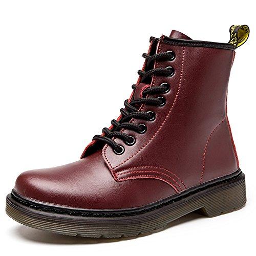 JACKSHIBO Damen Herren Klassischer Leder Knöchel Stiefel Boots Winter Warme Gefüttert Stiefeletten Schneestiefel,Plus Baumwolle,Rot,EU 37 (Stiefel Winter Rote)