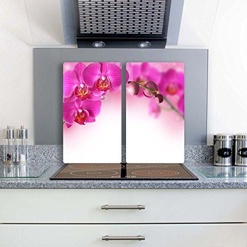 orchidee-2-set-glas-abdeckplatte-2x30x52-schneidebrett-herdabdeckplatte