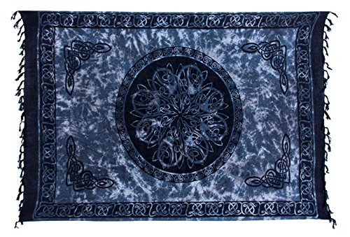 Sarong ca. 170cm x 110cm Handgearbeitet inkl. Sarongschnalle im Schmetterling Design - Viele exotische Farben und Muster zur Auswahl - Pareo Dhoti Lunghi Keltisch Grau Schwarz Weiss Batik