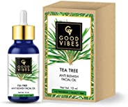 Good Vibes Tea Tree Anti Blemish Facial Oil - 10 ml - Helps Reduce Acne and Lighten Dark Spots for Glowing Rad