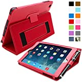 Snugg iPad Mini & iPad Mini 2 Retina Card Slot 'Executive' Leather Case in Red - Flip Stand Cover with Card Slots, Pocket, Elastic Hand Strap and Premium Nubuck Fibre Interior - Automatically Wakes and Puts the Apple iPad Mini & iPad Mini 2 Retina to Sleep