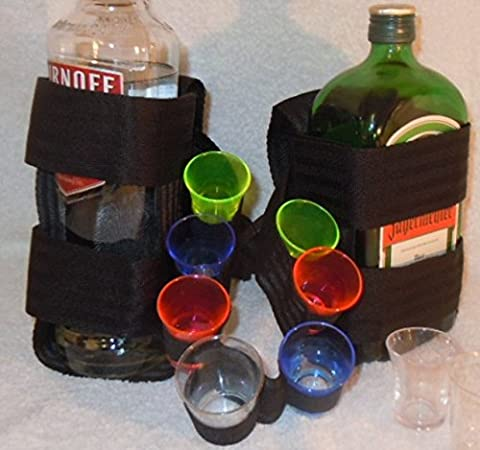 Waist Belt With One Standard And One Square Bottle Holder by Plastic Test Tubes LTD - Bottle Holder Cintura