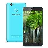 Blackview E7s 5.5 Zoll 3G-Smartphone Android 6.0 Quad-core 1.5GHz 2GB RAM + 16GB ROM Handy ohne Vertrag Dual SIM Dual Kamera Fingerabdruckscanner Smart Geste GPS Blau