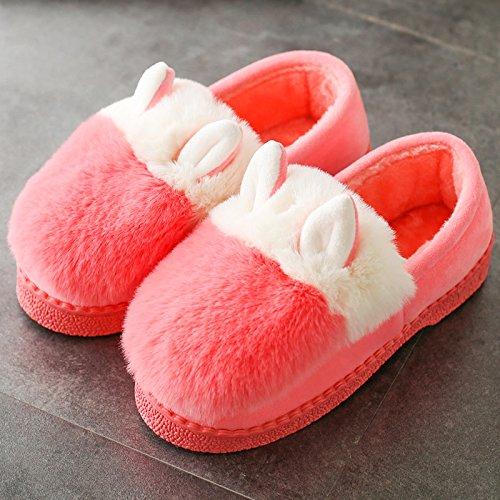 Cotone fankou pantofole donna autunno inverno home carino fondo spesso plus cashmere caldo pacchetto al coperto con scarpe di cotone Grau