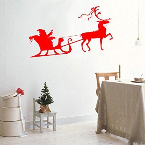 Christmas Holiday Santa 's Schlitten und Rentier Vinyl Wand Kunst Aufkleber-52,8x 101,6cm Dekoration Vinyl Aufkleber 20.8
