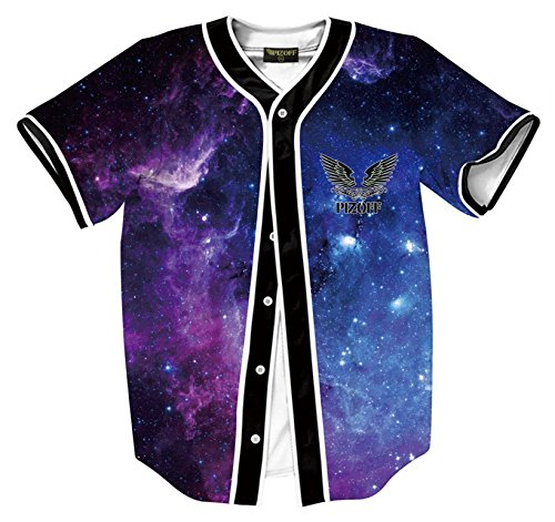 Sterne Supreme (Pizoff Herren Hip Hop 3D Druck Baseball Hemd Urban Classic Baseball Jersey Bunt Galaxy Stern Himmel)