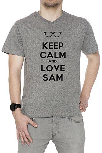 keep-calm-and-love-sam-uomo-v-collo-t-shirt-grigio-cotone-maniche-corte-grey-mens-v-neck-t-shirt